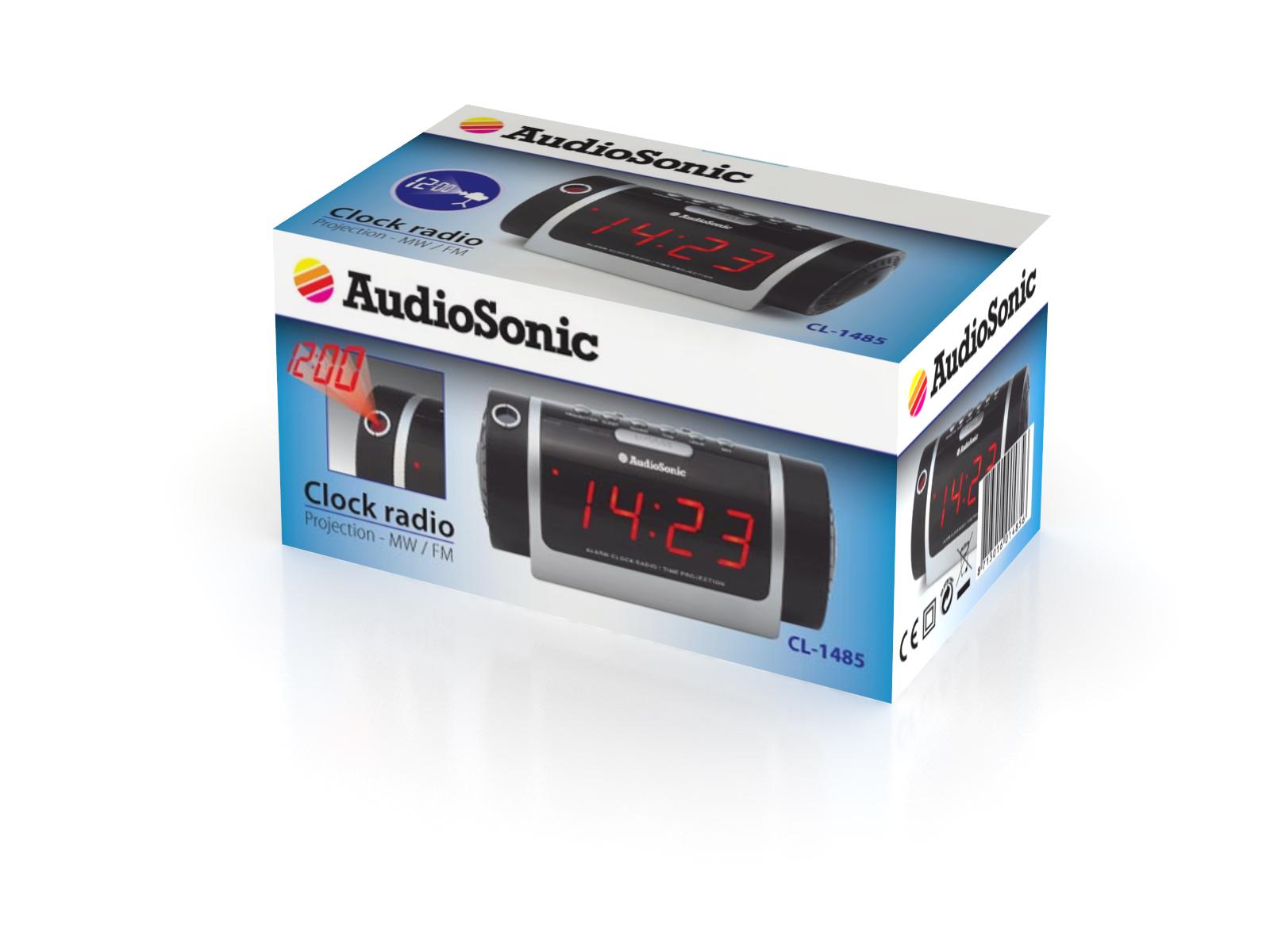 AudioSonic CL-1485 Orologio Analogico Nero, Argento radio