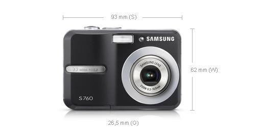 """Samsung S760 7.2MP 1/2.5"""" CCD Nero"""