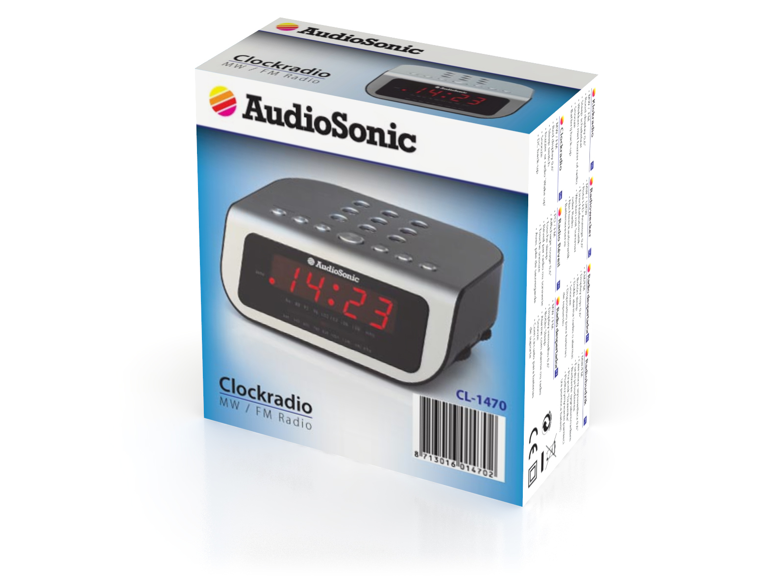 AudioSonic CL-1470 Orologio Argento radio