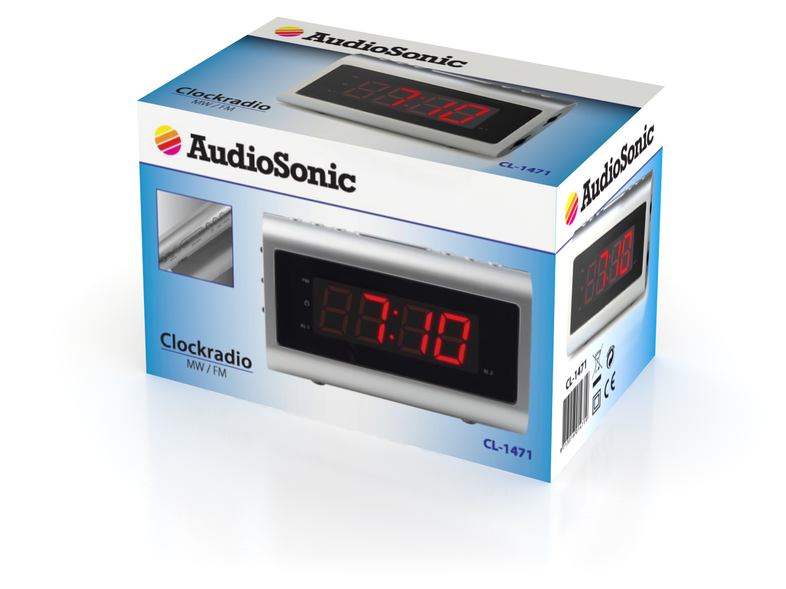 AudioSonic CL-1471 Orologio Argento radio