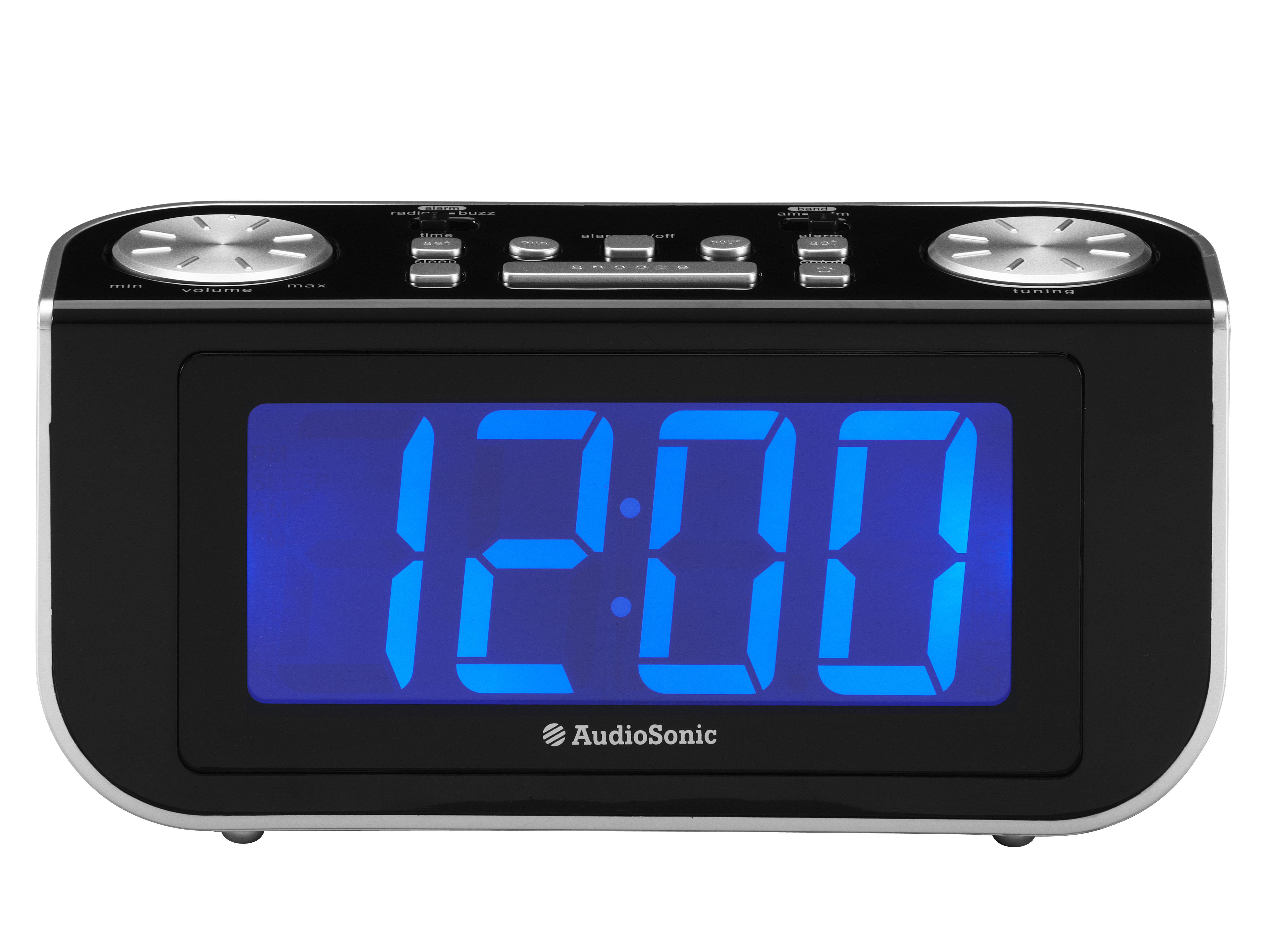 AudioSonic CL-480 Orologio Analogico Nero, Argento radio