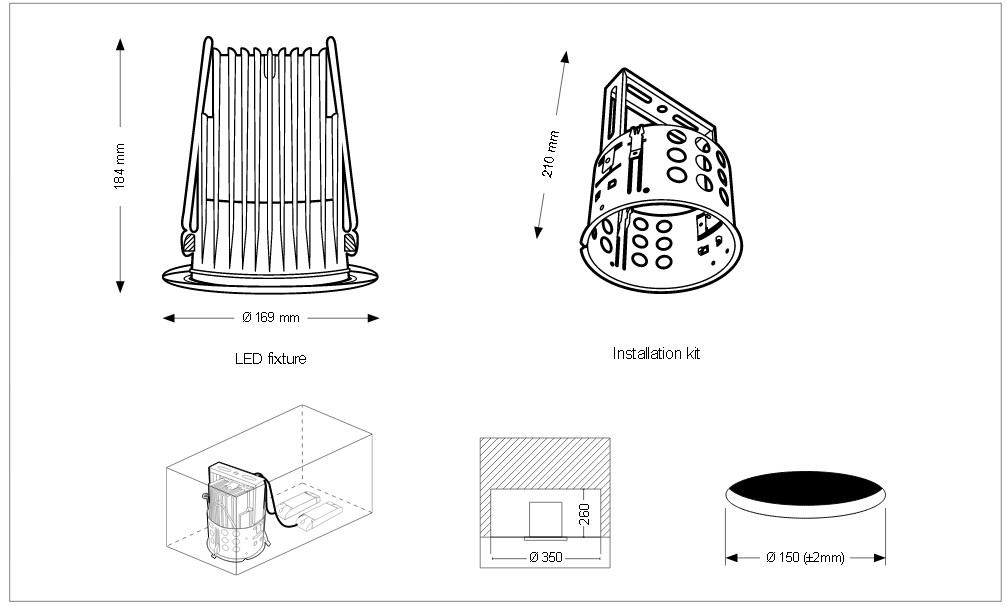 Toshiba LEDEUD00129D30 Interno Recessed lighting spot 92W Bianco faretto di illuminazione