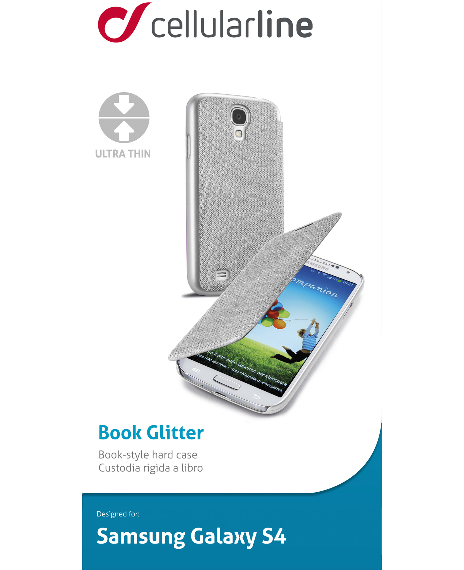 Cellularline Book - Galaxy S4 Value/ S4 Custodia a libro con un tocco di stile Argento