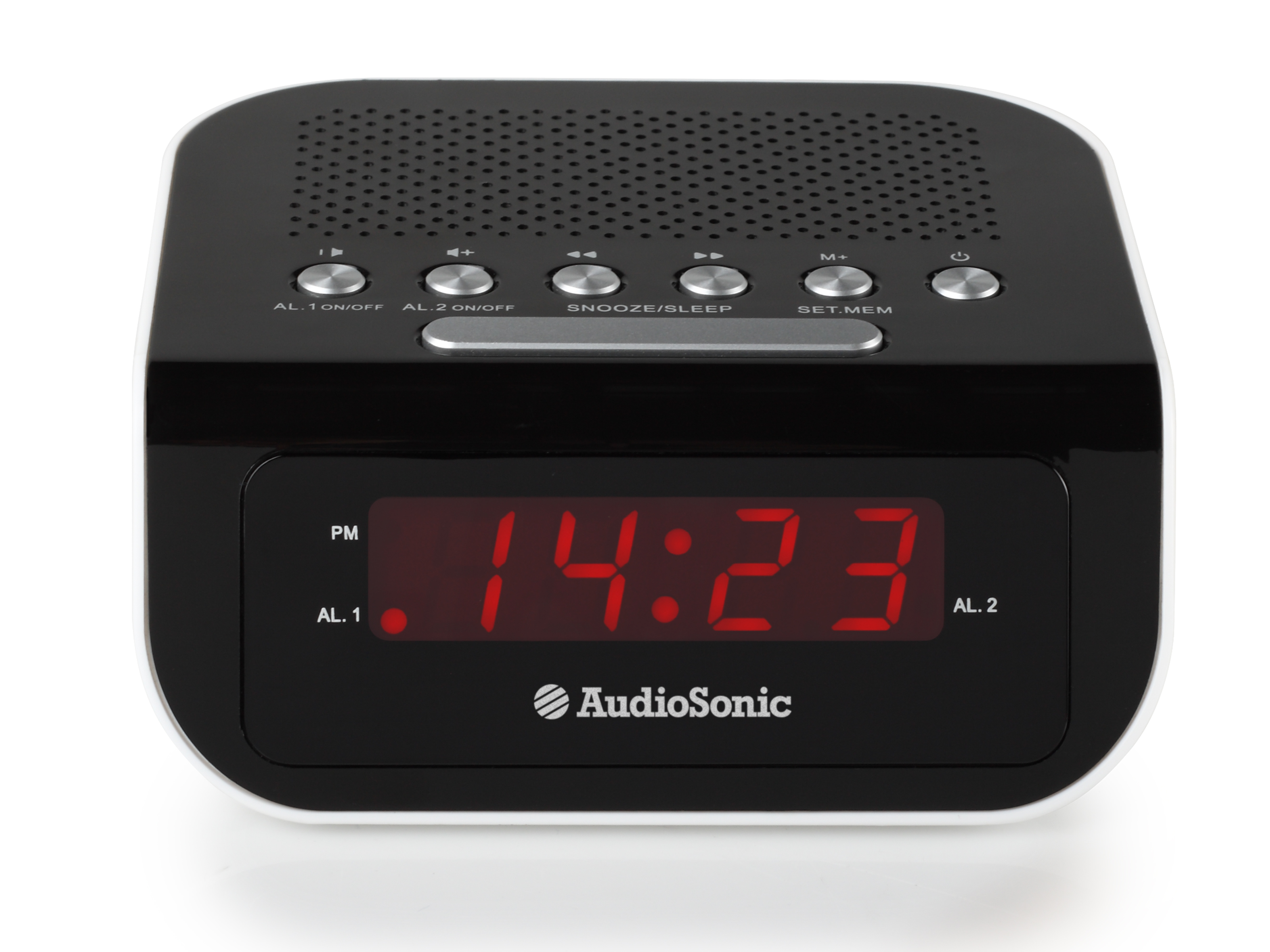 AudioSonic CL-1473 Orologio Digitale Nero, Bianco radio