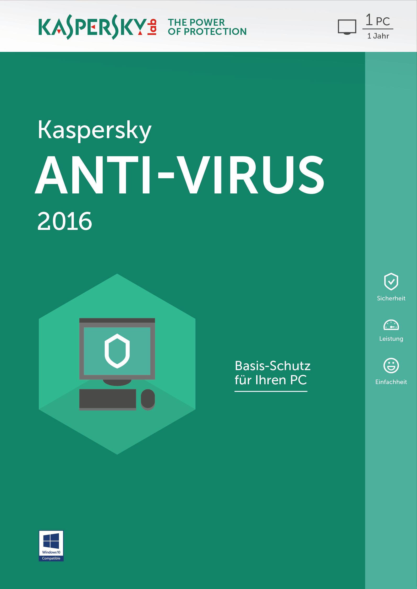 Kaspersky Lab Anti-Virus 2016 Base license 1utente(i) 1anno/i Tedesca