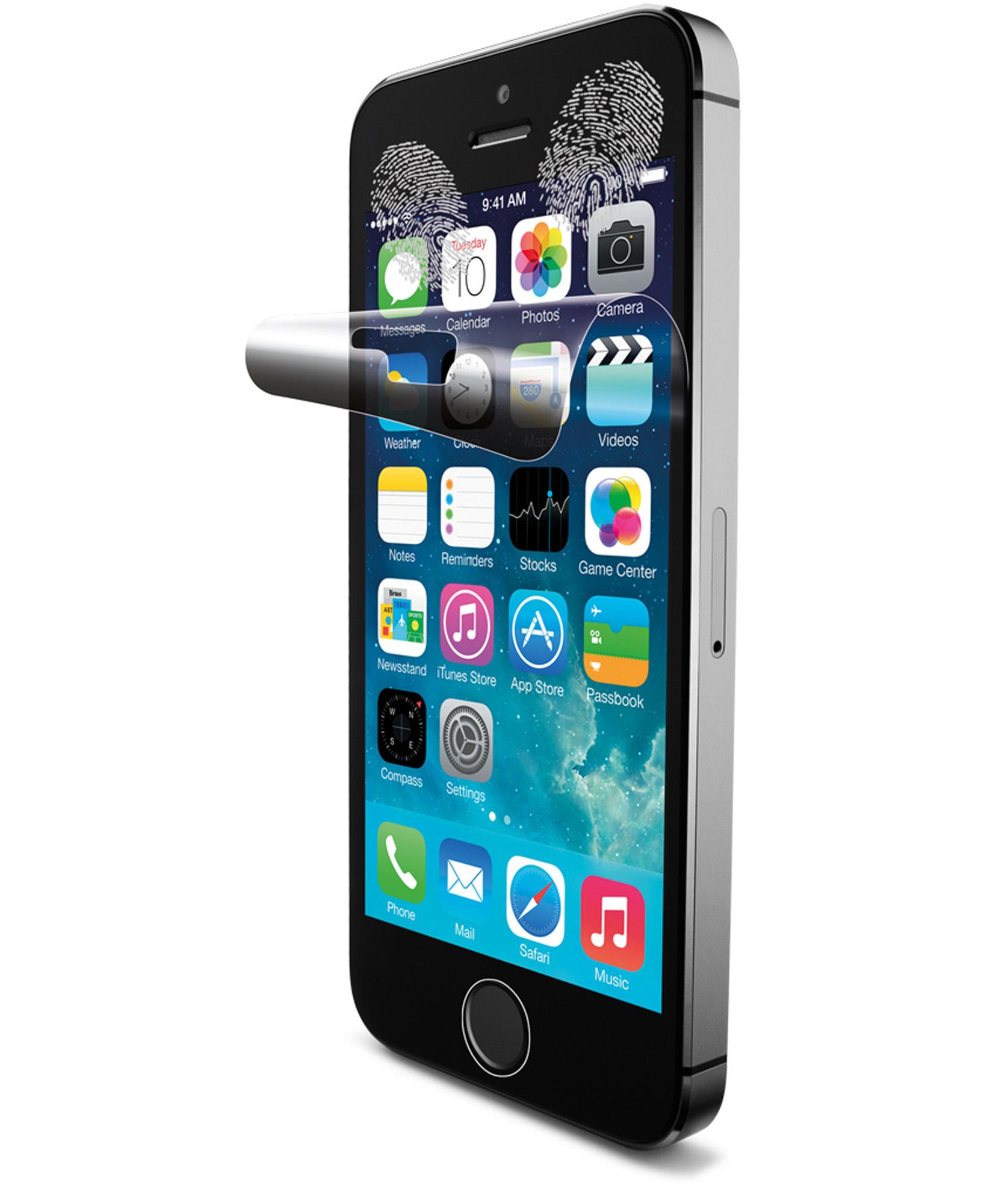 Cellularline Ok Display Anti-Trace - iPhone 5S/5C/5 Pellicola protettiva per display e retro del telefono anti impronte Trasparente