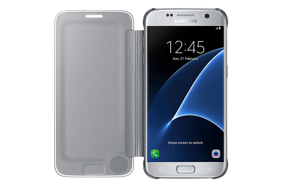 "Samsung Clear View Cover 5.1"" Custodia a libro Argento"