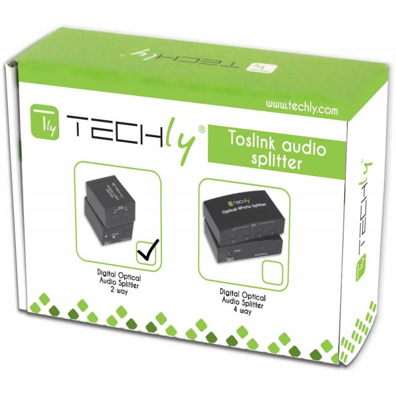 Techly Splitter Audio Digitale Toslink 2 Porte IDATA TOS-SP2