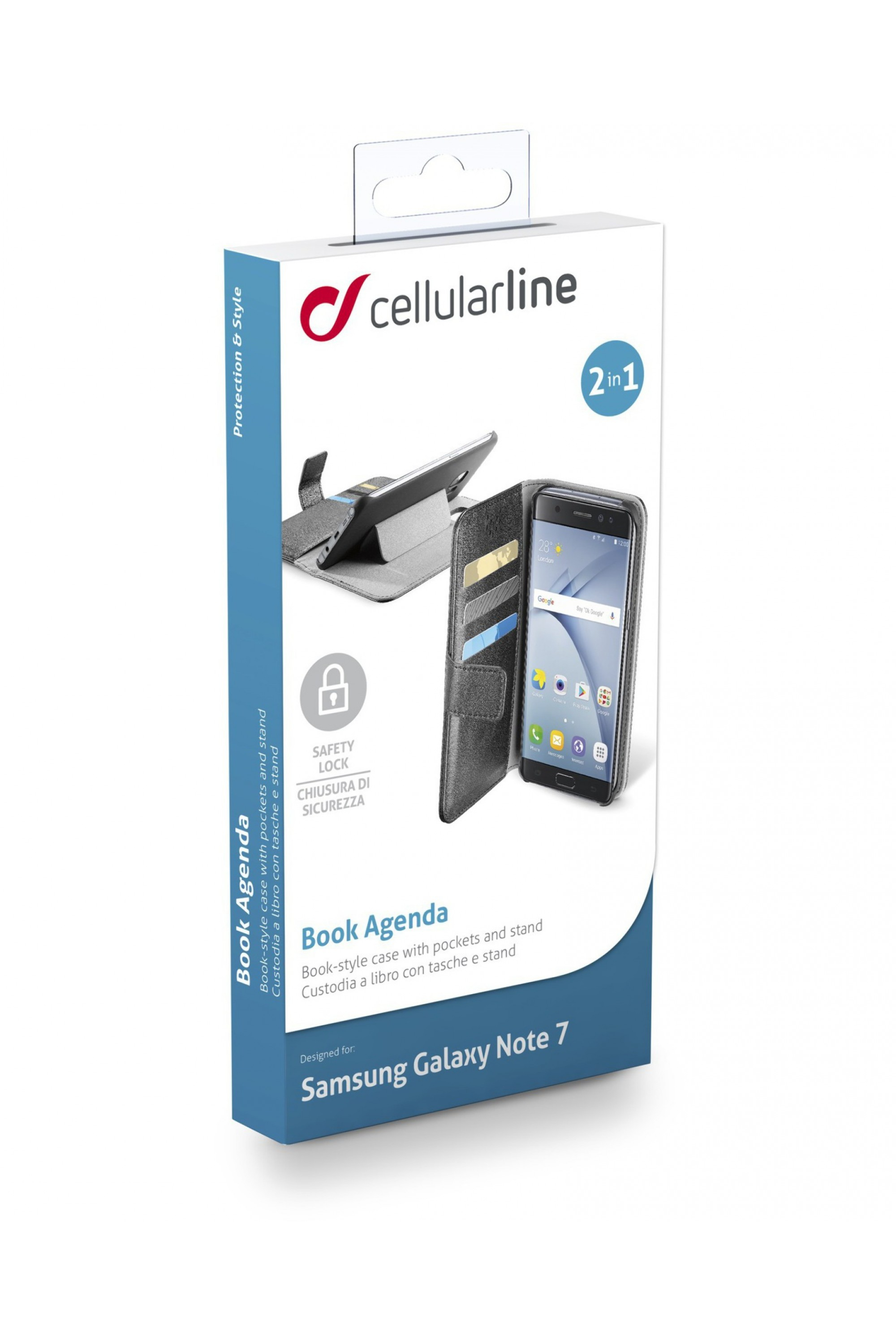 Cellularline Book Agenda - Galaxy Note 7 Custodia a libro pratica e funzionale Nero