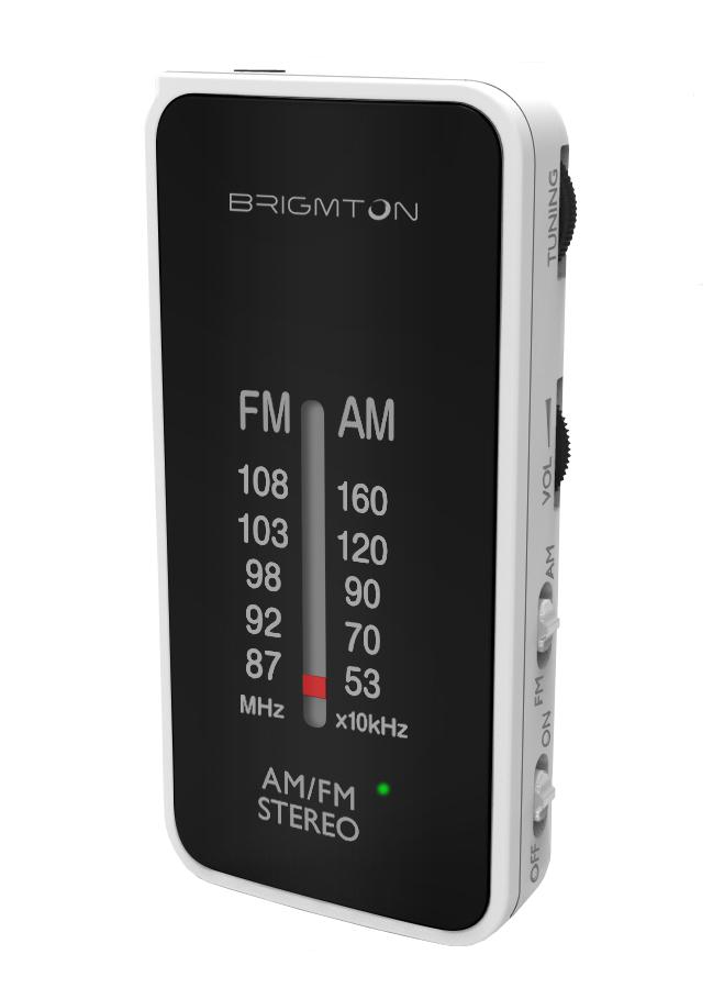 Brigmton BT-224 Portatile Analogico Nero, Bianco radio
