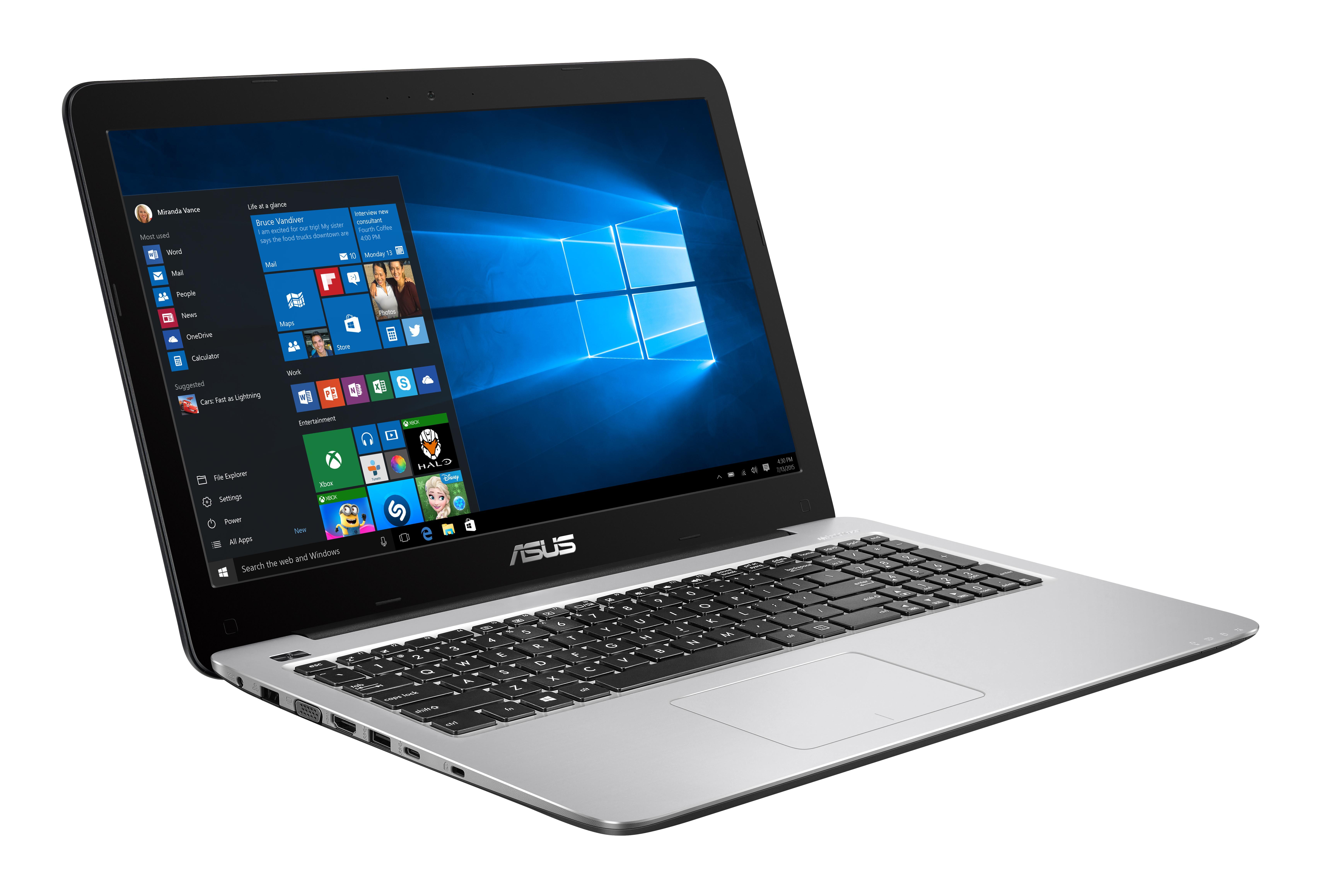"ASUS A556UQ-DM1280T 2.70GHz i7-7500U 15.6"" 1920 x 1080Pixel Blu, Acciaio inossidabile Computer portatile"