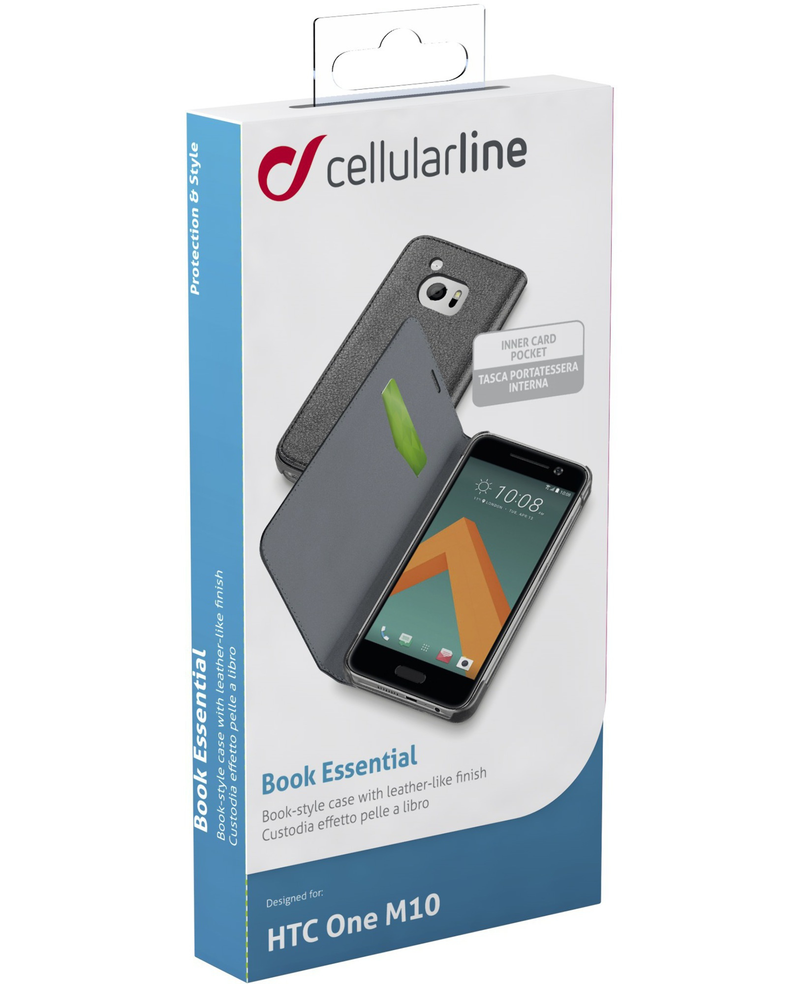 Cellularline Book Essential - 10 Pratica custodia a libro con finitura effetto pelle