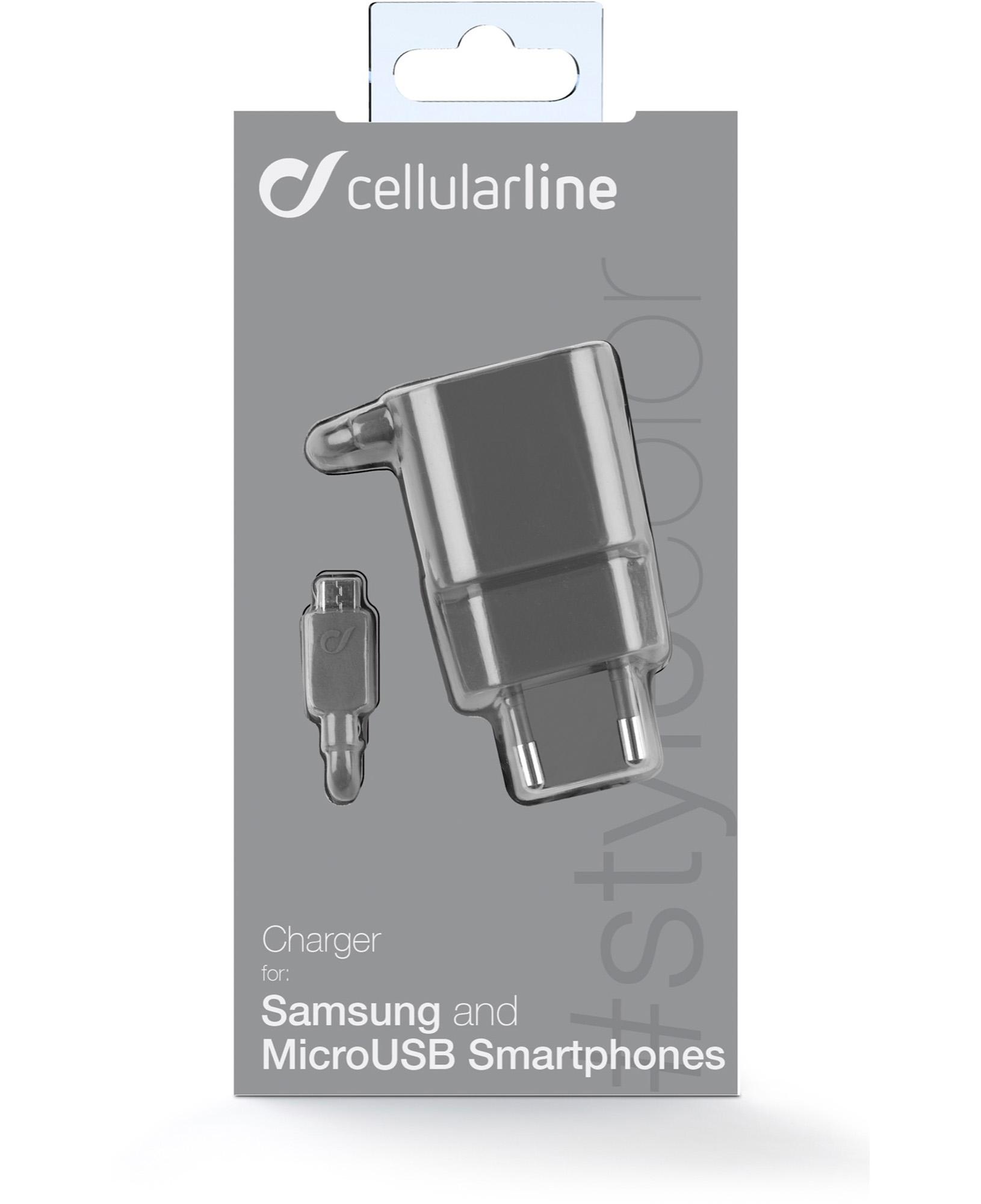 Cellularline Charger #Stylecolor - Micro USB Caricabatterie da rete colorato Grigio