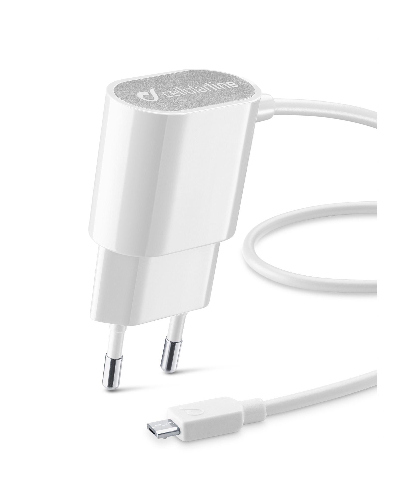 Cellularline Charger #Stylecolor - Micro USB Caricabatterie da rete colorato Bianco