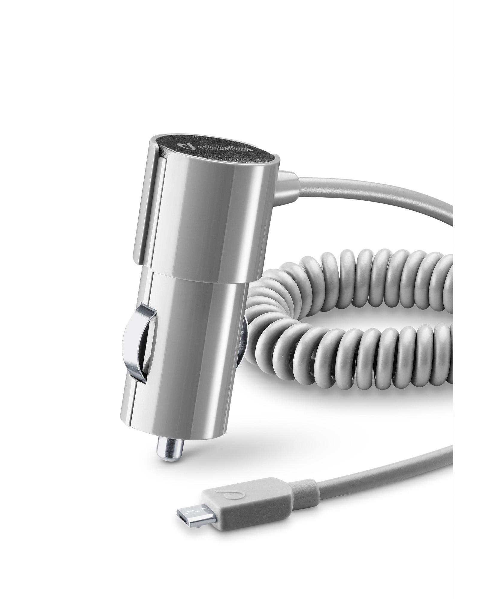 Cellularline Car Charger #Stylecolor - Micro USB Caricabatterie da auto colorato e compatto Grigio