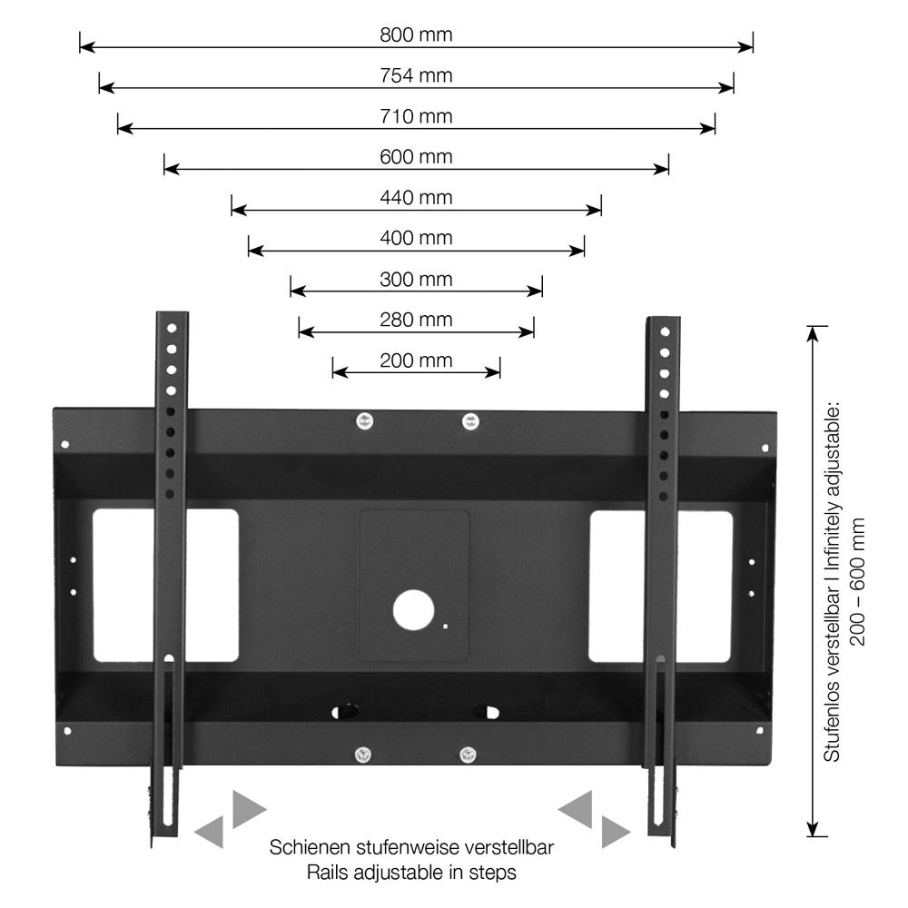 """Conen Mounts SCETAV28 100"""" Portable flat panel floor stand Alluminio, Nero base da pavimento per tv a schermo piatto"""