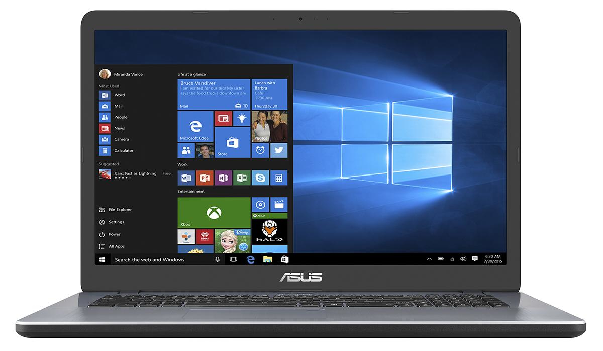 "ASUS P1700UA-BX286R 2.4GHz i3-7100U 17.3"" 1600 x 900Pixel Grigio Computer portatile"