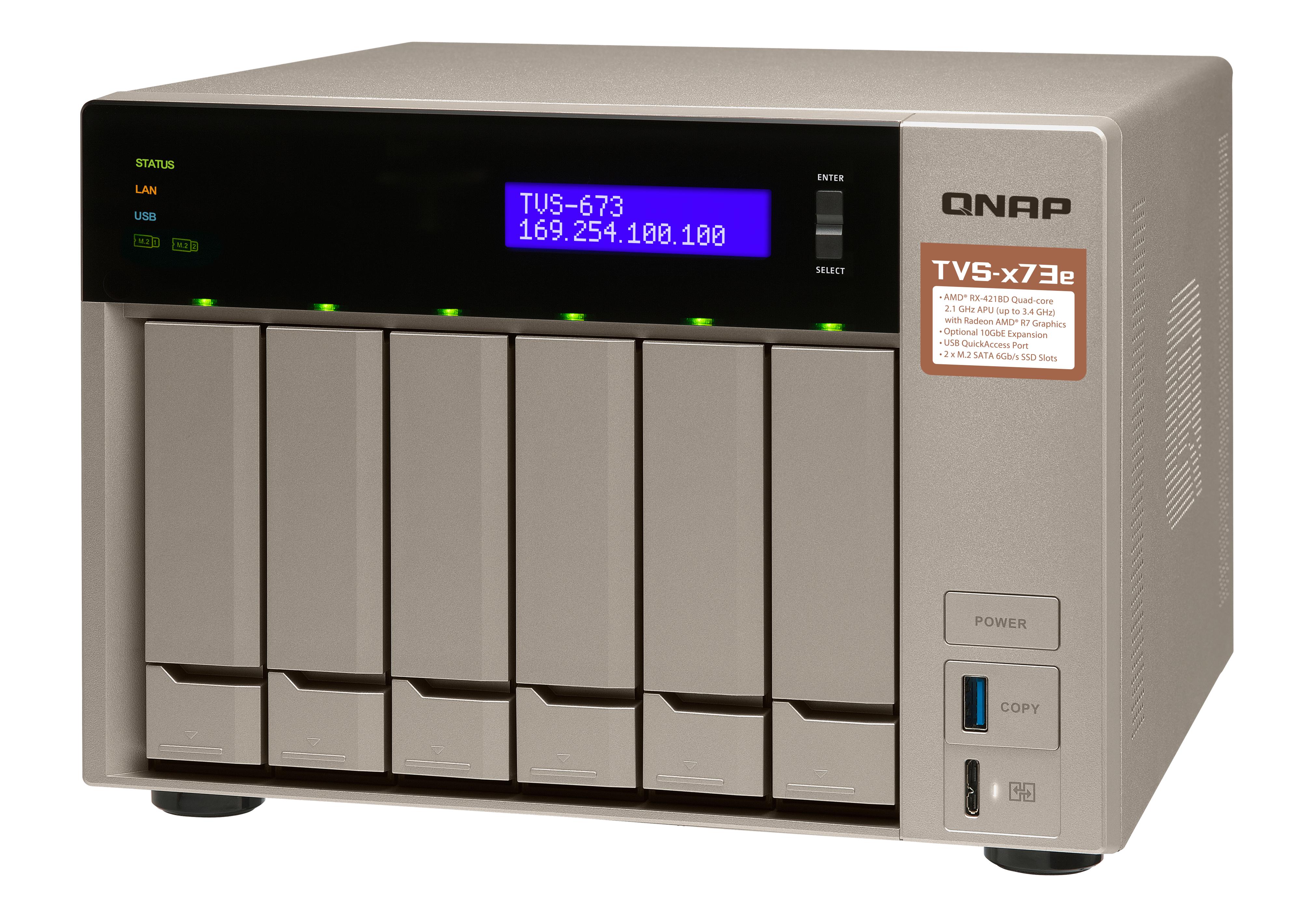 QNAP TVS-673e-8G NAS Torre Collegamento ethernet LAN Grigio