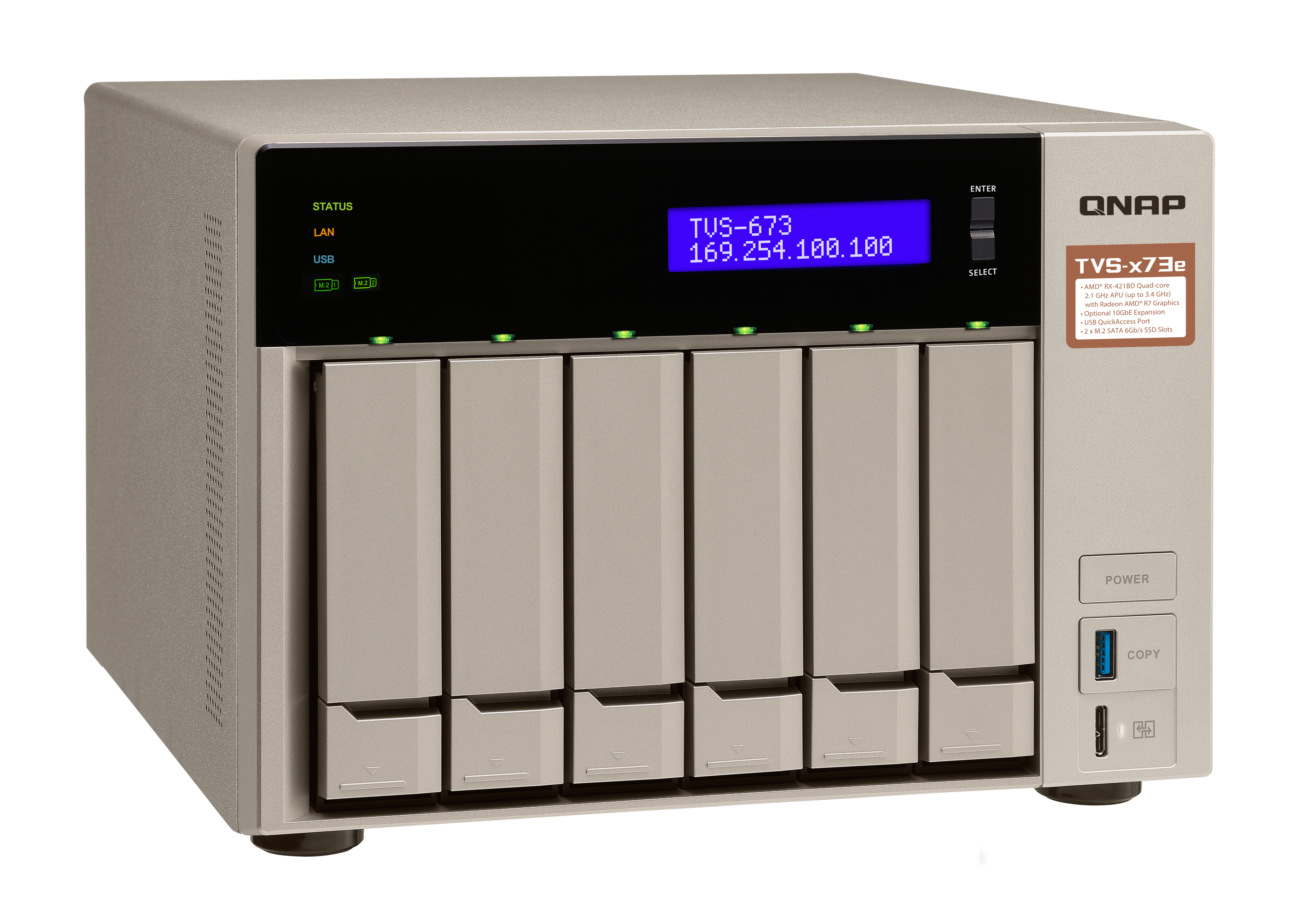 QNAP TVS-673e-4G NAS Torre Collegamento ethernet LAN Grigio