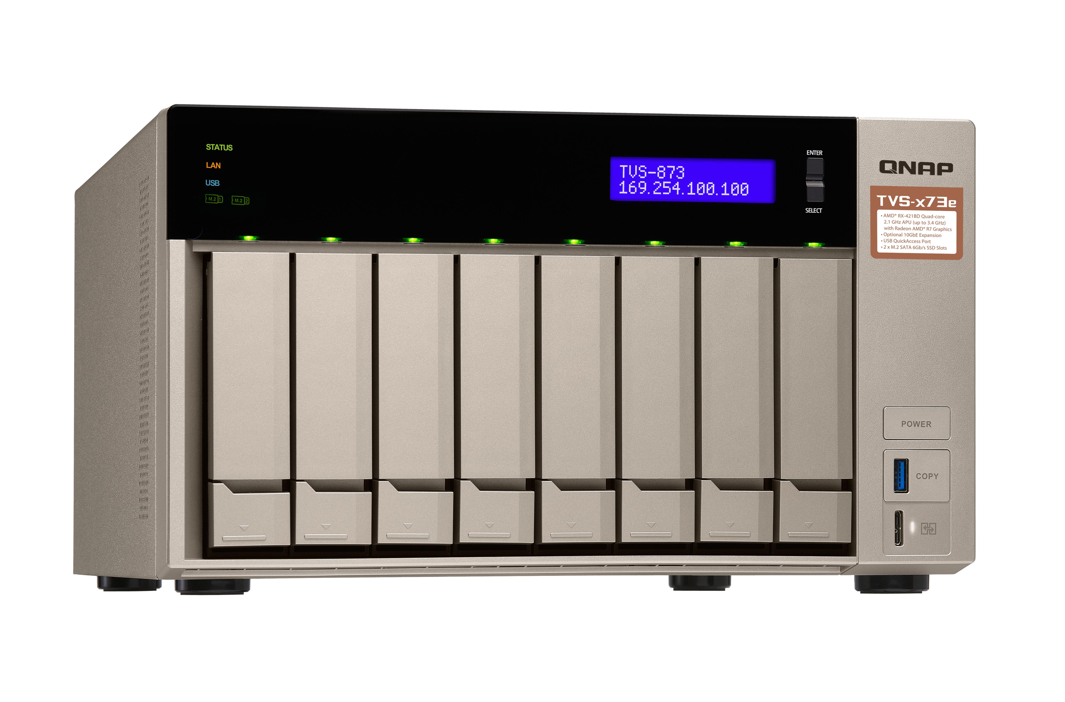 QNAP TVS-873e-4G NAS Torre Collegamento ethernet LAN Grigio