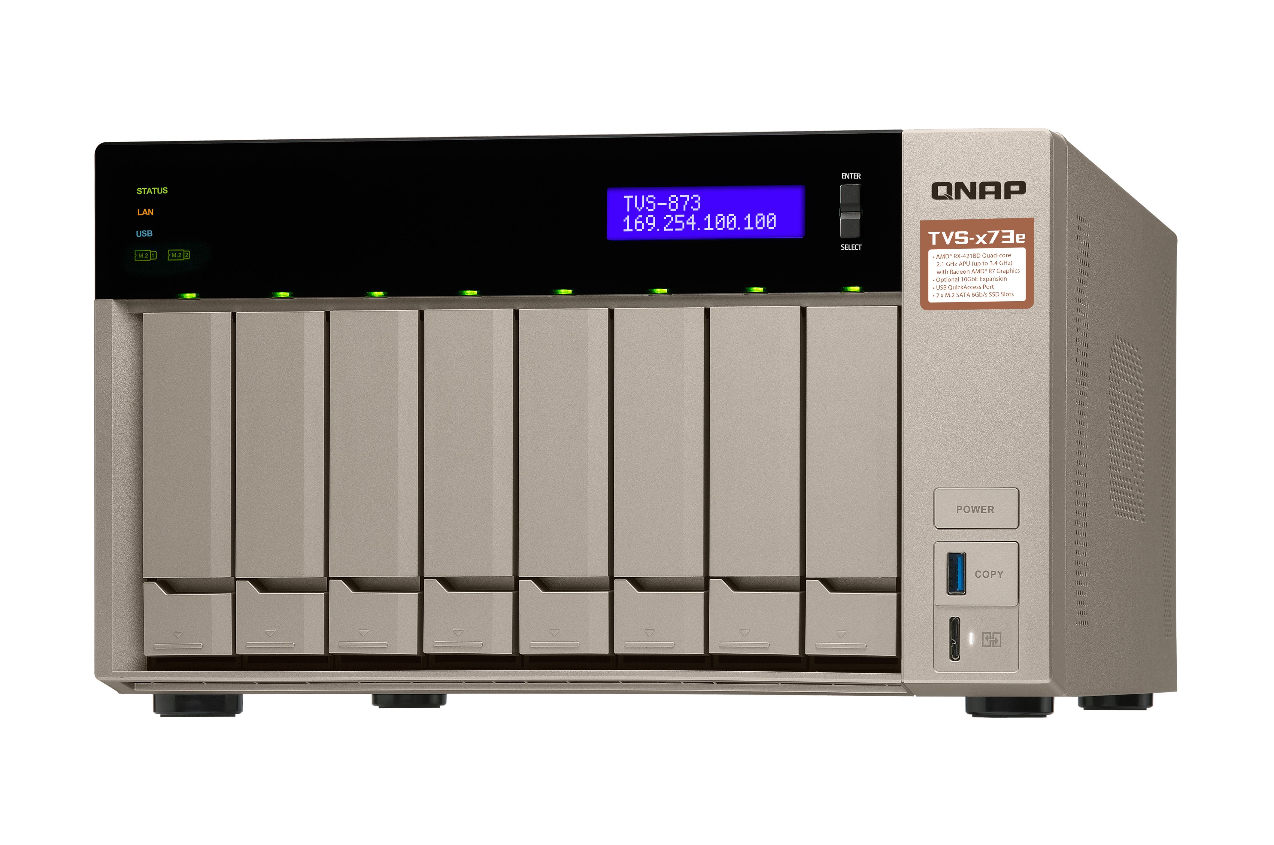 QNAP TVS-873e-8G NAS Torre Collegamento ethernet LAN Grigio
