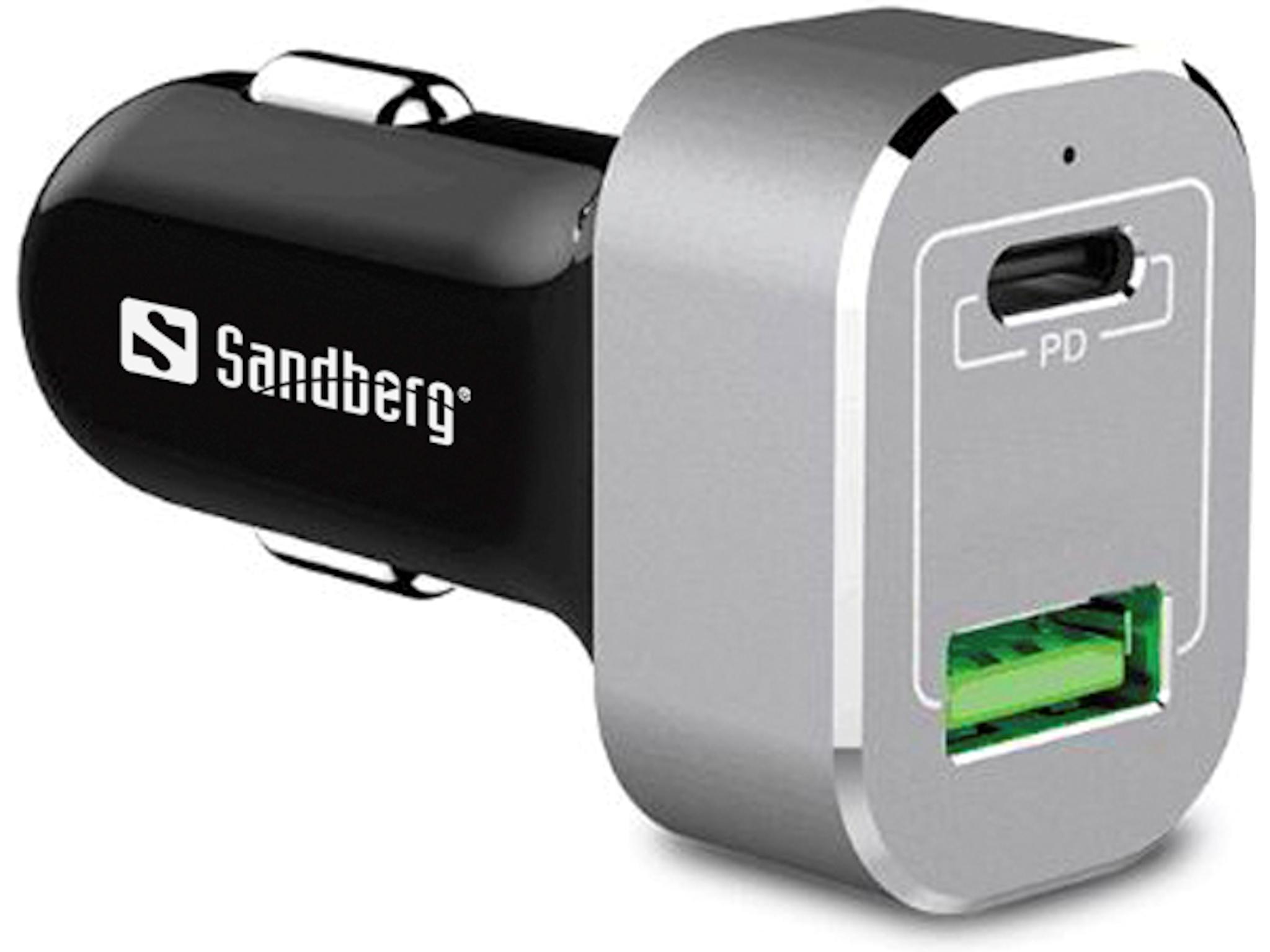 Sandberg 441-11 Auto Alluminio, Nero caricabatterie per cellulari e PDA