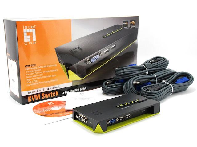 LEVELONE KVM 4xPORTAS USB DESKTOP(INCLUI CABOS) - KVM-0422