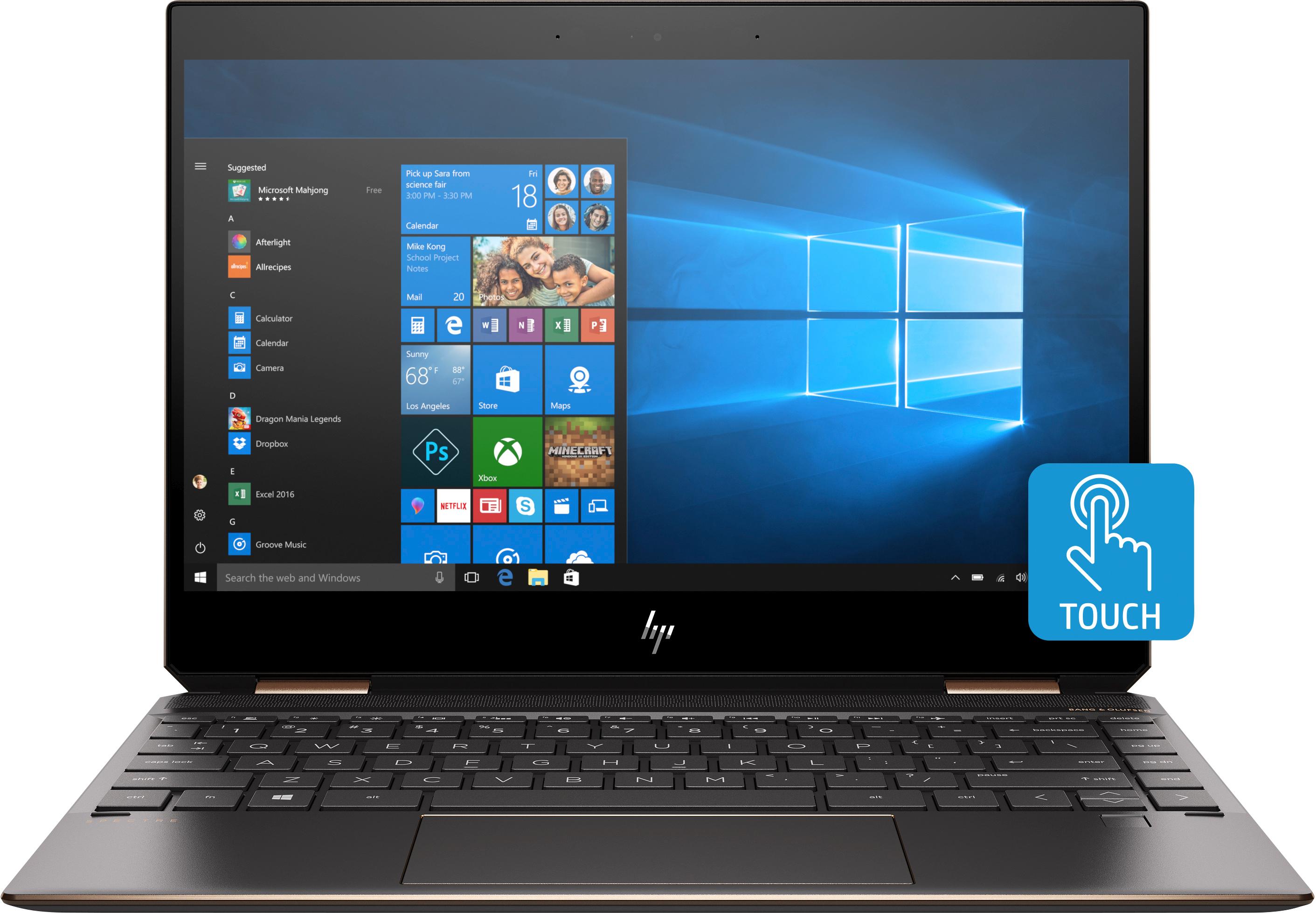 """HP Spectre x360 13-ap0074tu Nero, Argento Ibrido (2 in 1) 33,8 cm (13.3"""") 1920 x 1080 Pixel Touch screen 1,8 GHz Intel® CoreT i7 di ottava generazione i7-8565U"""