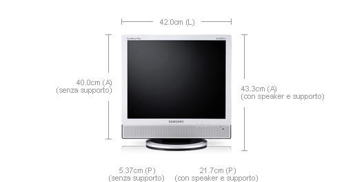 """Samsung SyncMaster 941MP 19"""" Argento monitor piatto per PC"""