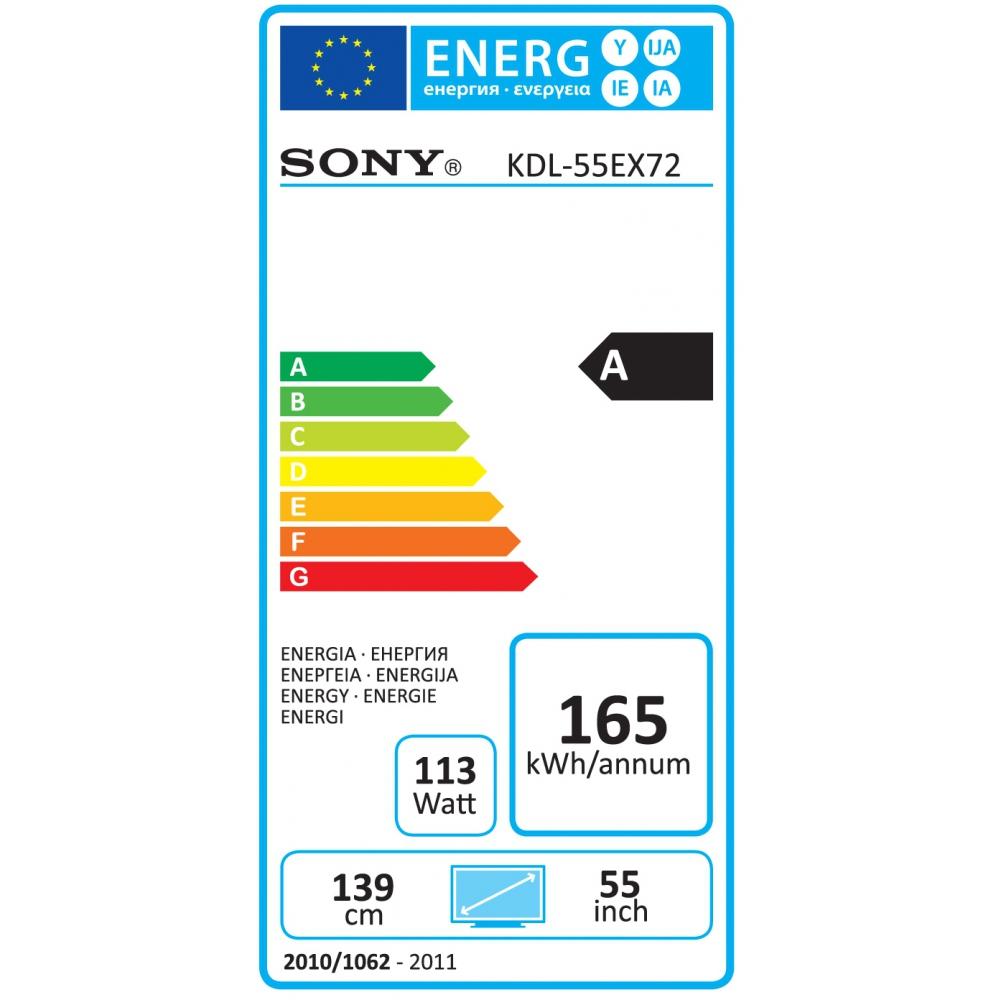 """Sony KDL-55EX720 54.6"""" Full HD Compatibilità 3D Nero TV LCD"""