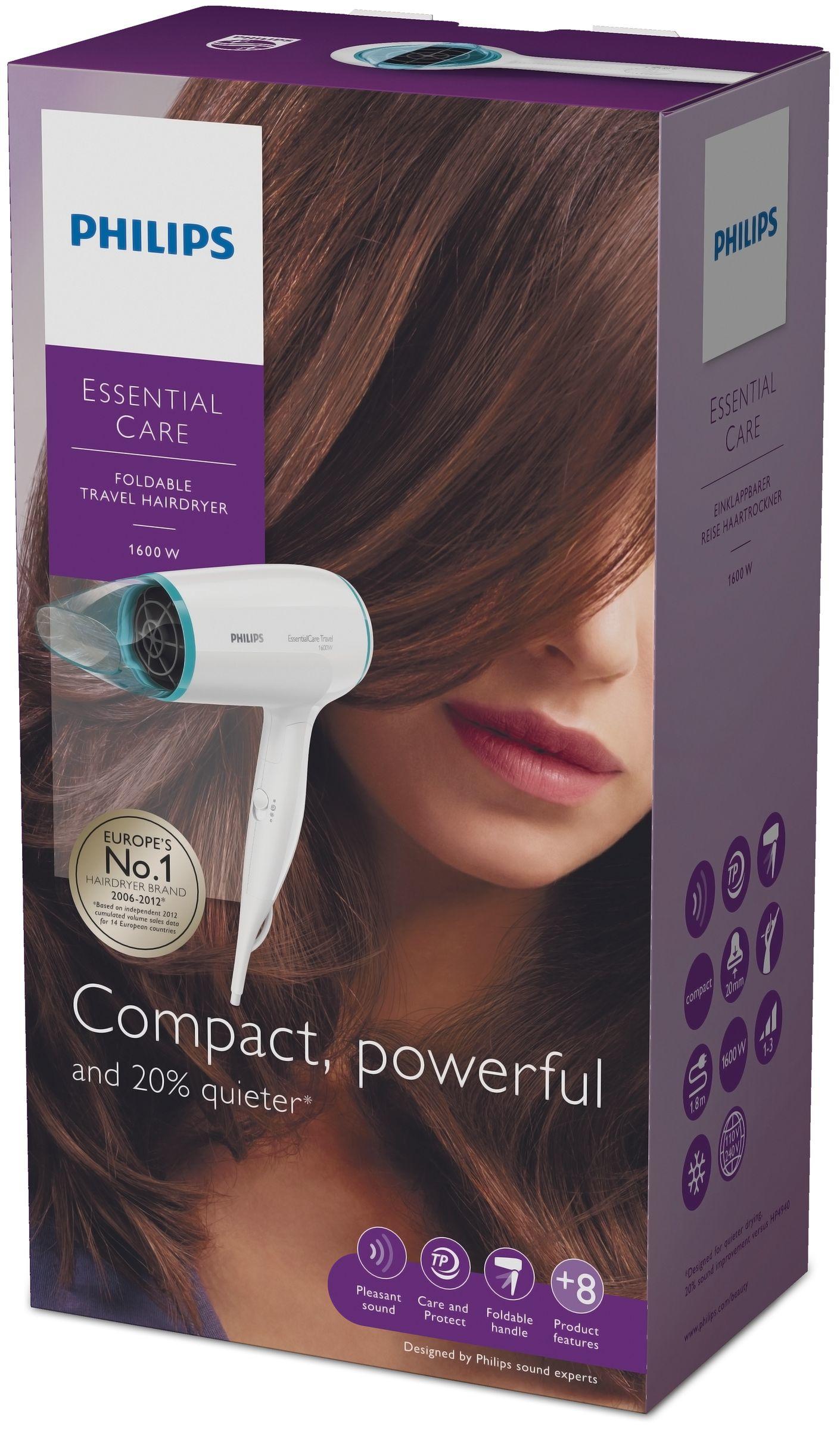 Philips Essential Care BHD006/08 1600W Blu, Bianco asciuga capelli
