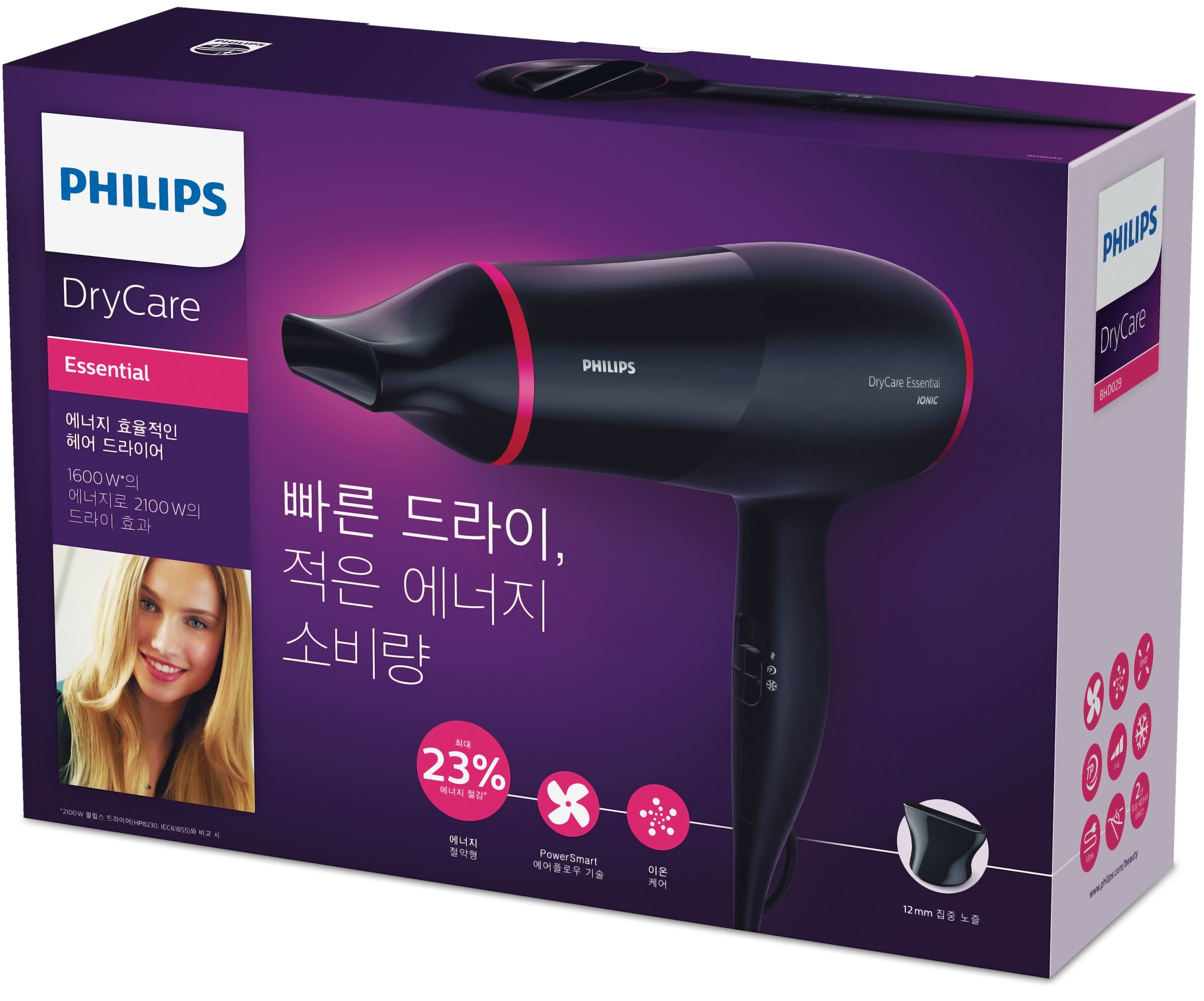 Philips DryCare BHD029/09 1600W Nero asciuga capelli