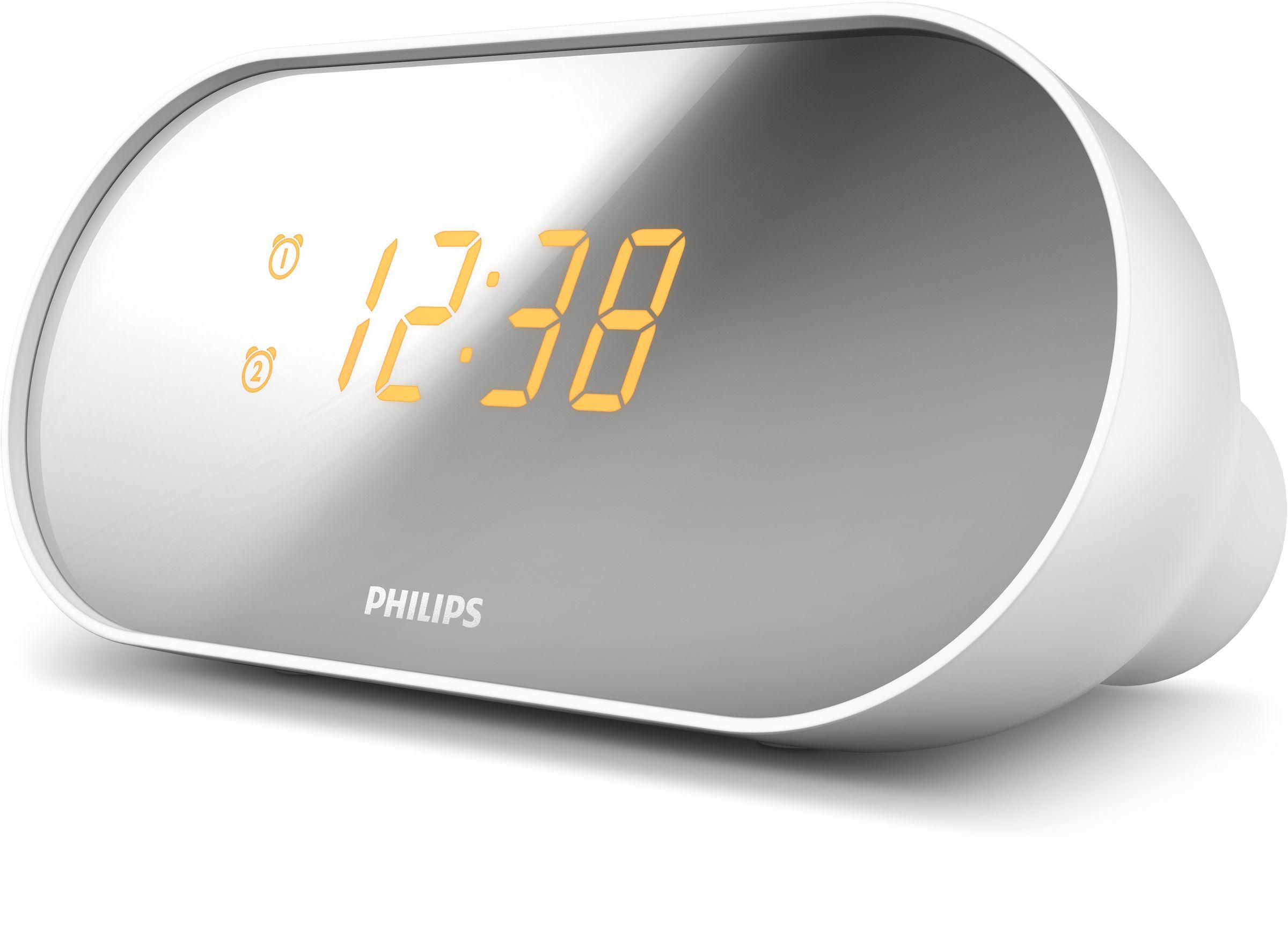 Philips AJ2000/05 Orologio Digitale Specchio, Bianco radio