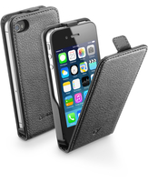 Cellularline Flap Essential - iPhone 4S/4 Custodia con apertura flap e finitura effetto pelle Nero