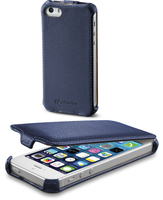 Cellularline Flap - iPhone 5S/5 Custodia con apertura flap e finitura effetto pelle Blu