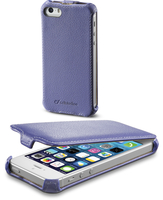 Cellularline Flap - iPhone 5S/5 Custodia con apertura flap e finitura effetto pelle Viola