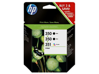 HP 350/350/351 Inkjet Print Cartridges 3-Pack Nero, Ciano, Giallo cartuccia d