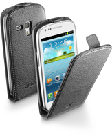 Cellularline Flap Essential - Galaxy S3 Mini Custodia con apertura flap e finitura effetto pelle Nero