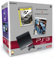 Sony 250GB PlayStation 3 Slim + Gran Turismo 5 + Uncharted 2 250GB Wi-Fi Nero