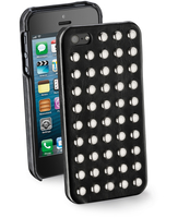 Cellularline Stud - iPhone 5S/5 Cover effetto pelle decorata con borchie Nero