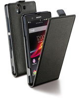 Cellularline Flap Essential - Xperia Z Custodia con apertura flap e finitura effetto pelle Nero