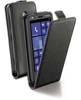 Cellularline Flap Essential - Lumia 620 Custodia con apertura flap e finitura effetto pelle Nero
