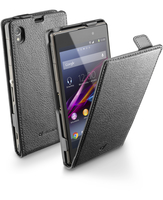 Cellularline Flap Essential - Xperia Z1 Custodia con apertura flap e finitura effetto pelle Nero