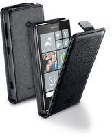 Cellularline Flap Essential - Lumia 525/520 Custodia con apertura flap e finitura effetto pelle Nero