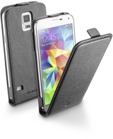 Cellularline Flap Essential - Galaxy S5/S5 Neo Custodia con apertura flap e finitura effetto pelle Nero