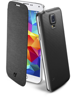 Cellularline Flip-Book - Galaxy S5/S5 Neo Custodia a libro ultra-slim che esalta il design Nero