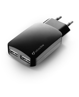 Cellularline USB Charger Dual Ultra For Tablets, Phablets And Smartphones Caricabatterie veloce a 15W per due dispositivi Nero
