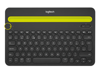 Logitech K480 Bluetooth QWERTY US International Nero, Giallo tastiera per dispositivo mobile