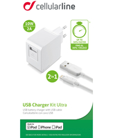 Cellularline USB Charger Kit Ultra - Fast Charge Lightning Cavo e caricabatterie veloce 10W in un