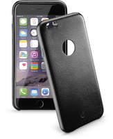 Cellularline Class - iPhone 6S/6 Plus Cover rigida con elegante effetto pelle e interni in microfibra Nero